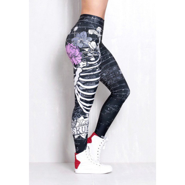 Rock Code Leggings Elastic Shadow Of Roses