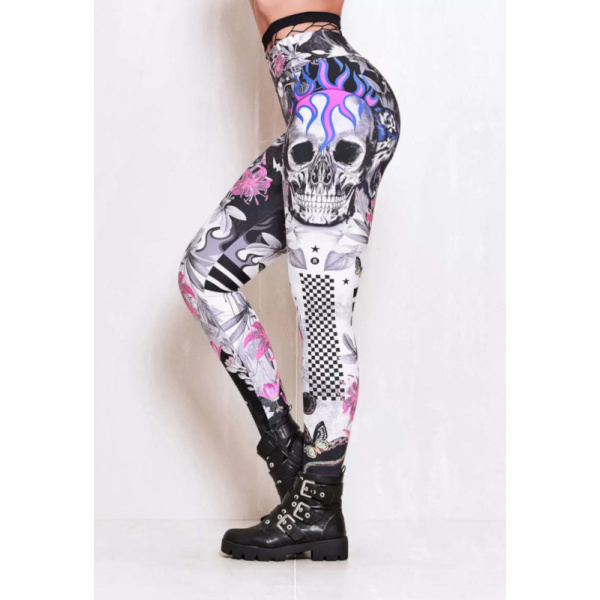 Rock Code Leggings Elastic Mad Skull