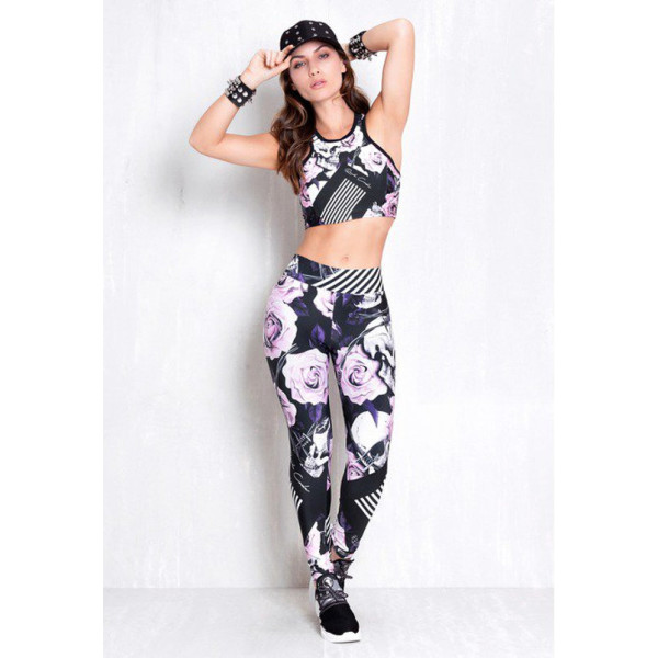 Rock Code Set Interlaced Roses Leggings + Top Cropped Line